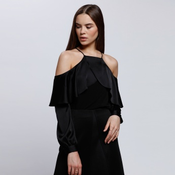 Elle Cold Shoulder Top with Long Sleeves
