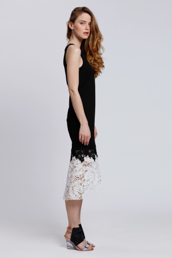Elle Sleeveless Bodycon Dress with Lace Hem