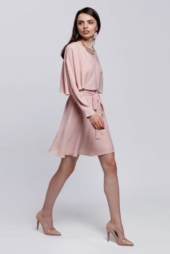 Elle Wrapped Dress with Long Sleeves and Tie Up