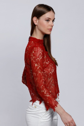 Elle Lace Top with Long Sleeves and High Neck