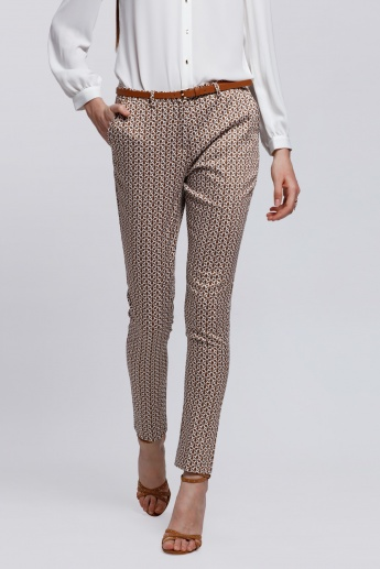 Elle Printed Full Length Trousers with Pocket Detail