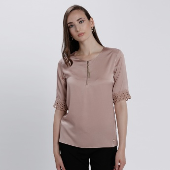 Elle Top with Embroidery and Front Zip Closure