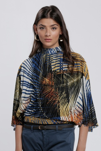 Elle Printed Hi Neck Pleated Top