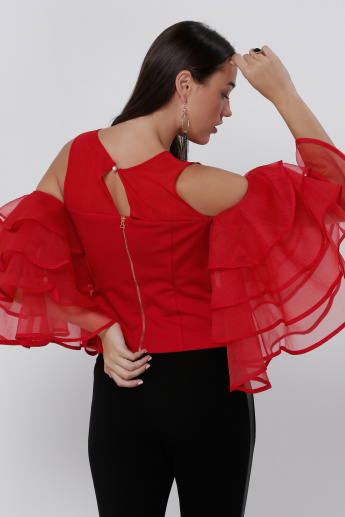 8aff9cd2523 Elle Layered Ruffle Sleeves Cold Shoulder Top | Red