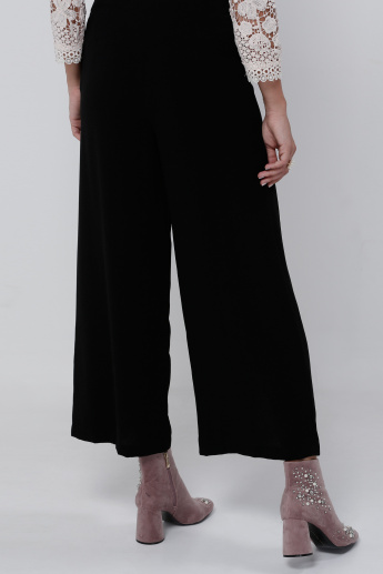Elle Full Length Palazzo Pants with Lace Detail