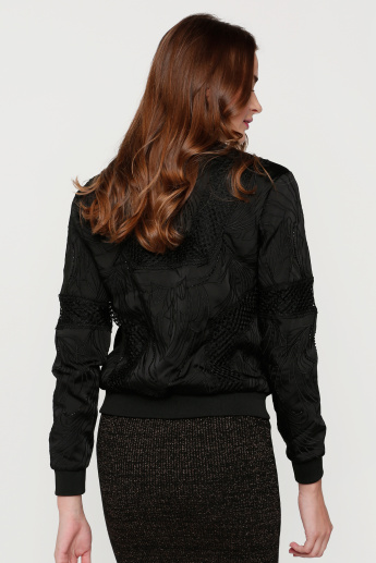 Elle Embroidered Jacket with Long Sleeves and Zip Closure