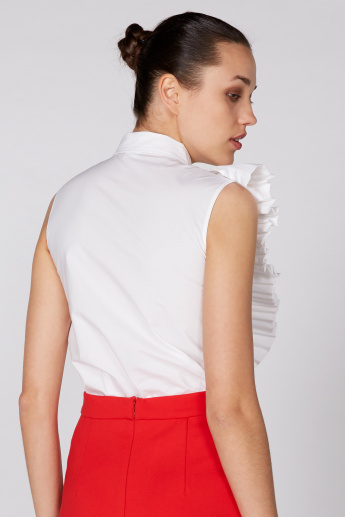 Elle Sleeveless Top with Ruffle Detail