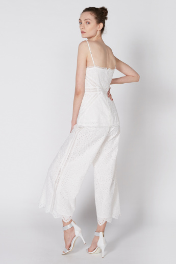 Full Length Palazzo Pants with Schiffli Detail