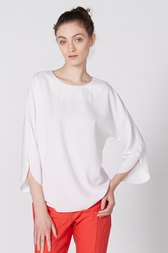 Elle Top with Round Neck and 3/4 Sleeves