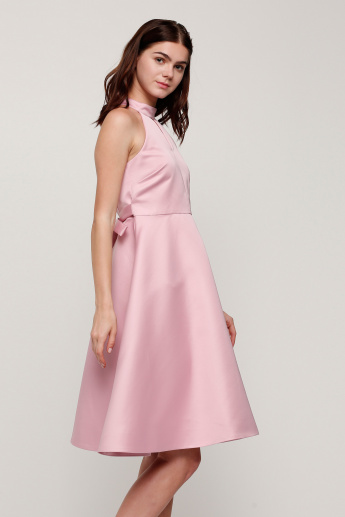 Elle Sleeveless Midi Dress with Halter Neck and Tie-Up Detail