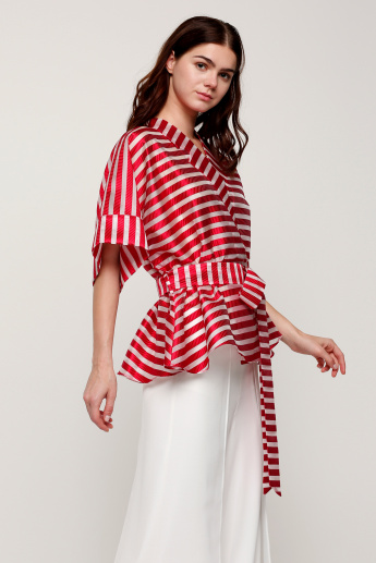 Elle Striped Kimono Top with Bow Detail