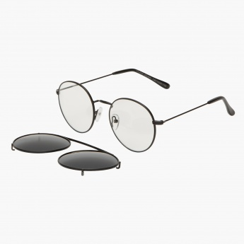 Round Sunglasses with Detachable Frame