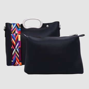 Hand Bag with Printed Long Strap