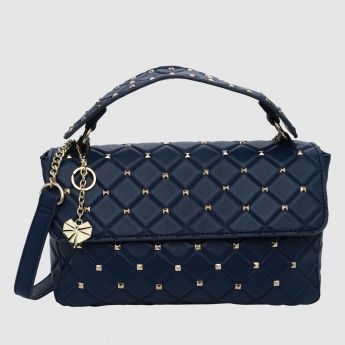 Quilted Crossbody Bag with Studs and Snap Closure