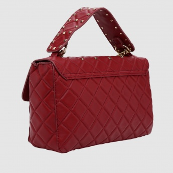 Quilted Hand Bag with Studs and Snap Closure