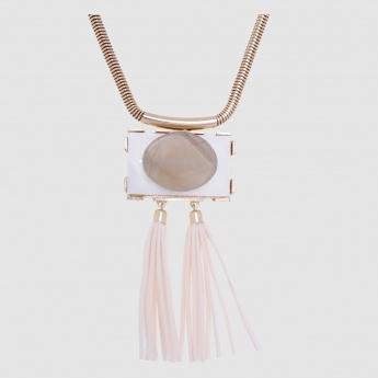Metallic Necklace with Tassels and Lobster Clasp