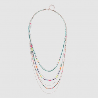 Multi Chain Beaded Necklace with Lobster Clasp
