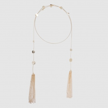 Beaded Bib Necklace with Metallic Tassels
