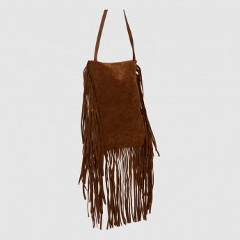 Fringe Flap Handbag with Tassels