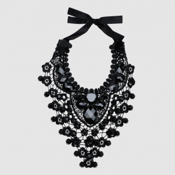 Lace Choker Necklace with Beaded Detail