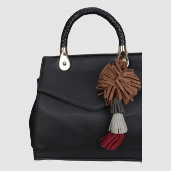 Handbag with Magnetic Snap Closure and Tassels