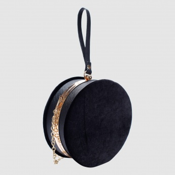 Iconic Embroidered Round Clutch with Kiss Lock Closure