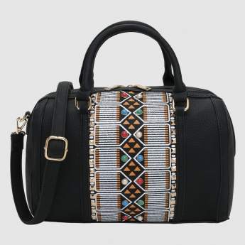 Iconic Printed Duffle Bag with Zip Closure