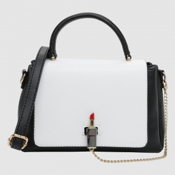 Iconic Handbag with Flap and Metallic Closure