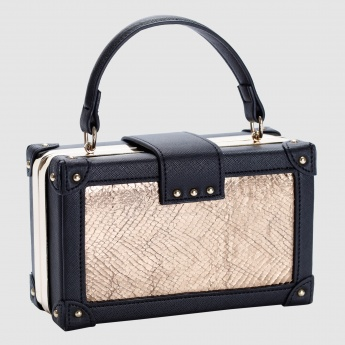 Iconic Textured Clutch with Metallic Closure