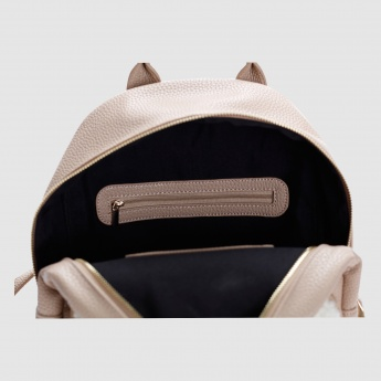 Iconic Backpack with Plush Detail and Zip Closure