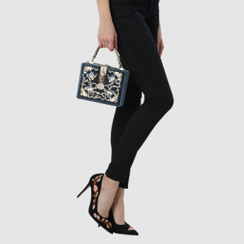 Iconic Embellished Clutch with Twist Lock