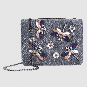 Iconic Embellished Crossbody Handbag with Flap