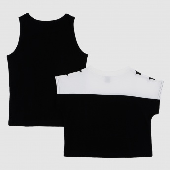 Iconic Sleeveless T-Shirt and Crop Top Set