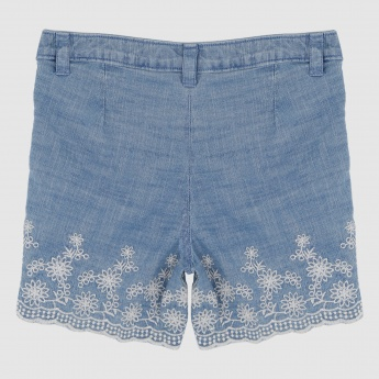 Iconic Embroidered Shorts with Button Closure