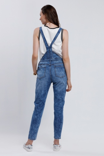 Iconic Distressed Dungaree with Suspenders