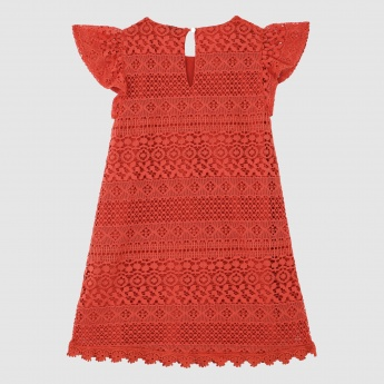 Iconic Lace Design Dress with Cap Sleeves