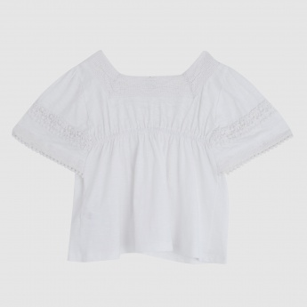 Iconic Lace Embroidered Top with Square Neck