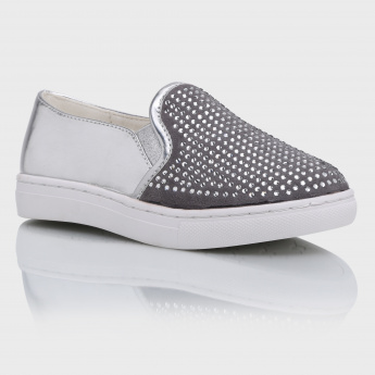 Iconic Embellished Slip-On Shoes with Elasticised Gussets