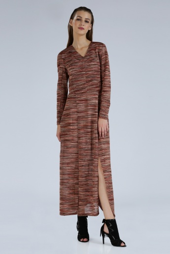 Iconic Printed Maxi Dress with Slit and Long Sleeves