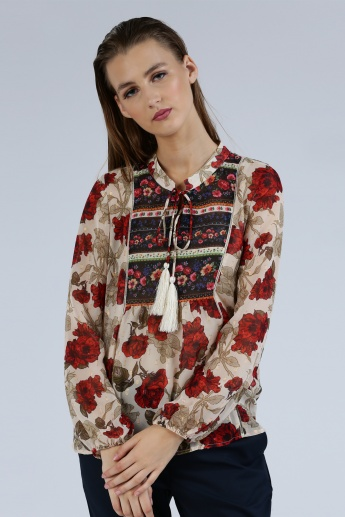 Iconic Printed Long Sleeves Top with Round Neck