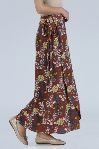 Iconic Floral Print Tie Up Maxi Skirt