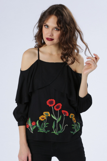 Iconic Embroidered Cold Shoulder Top with Ruffle Detail