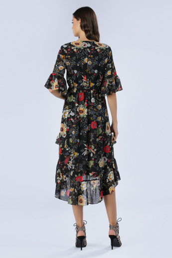 Iconic Printed Dress with High-Low Hem
