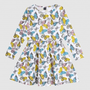 Iconic Butterfly Printed Dress with Round Neck and Long Sleeves