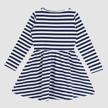 Iconic Striped Dress with Round Neck and Long Sleeves