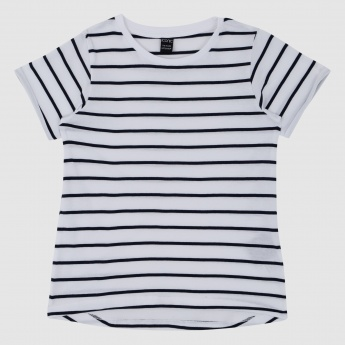 Iconic Striped T-Shirt with Round Neck and Short Sleeves