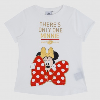 Iconic Minnie Mouse Printed T-Shirt with Short Sleeves