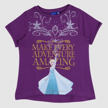 Iconic Frozen Print T-Shirt with Short Sleeves