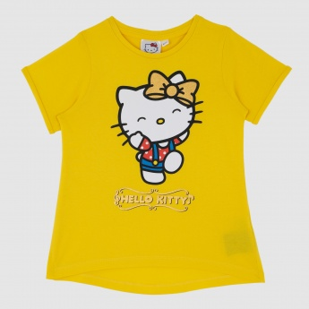 Iconic Hello Kitty Print T-Shirt with Short Sleeves