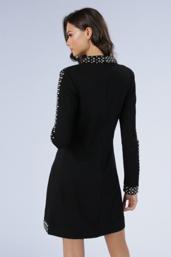 Embellished Bodycon Dress with Long Sleeves